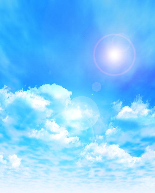 背景イラスト 青空と雲と太陽