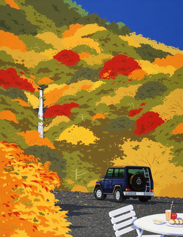 紅葉の山と滝の風景イラスト