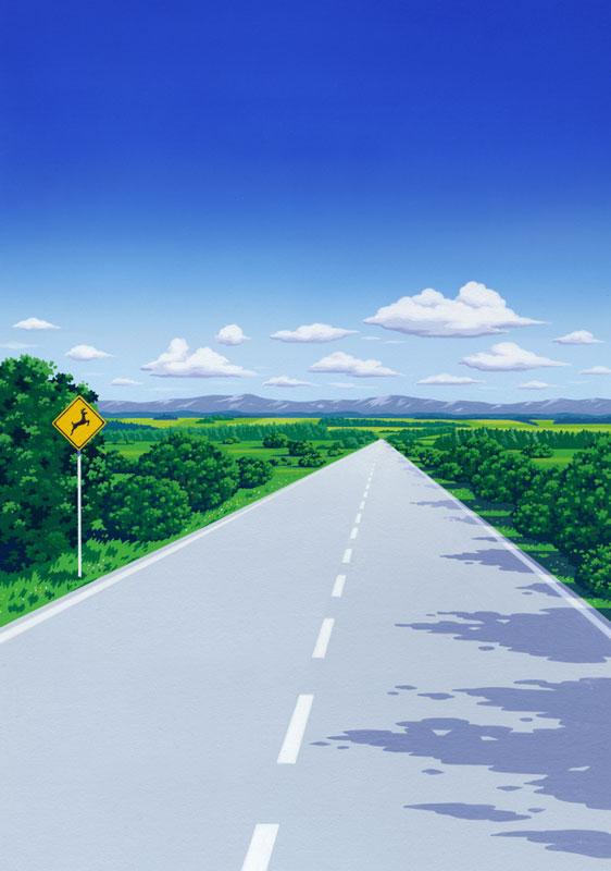 風景イラスト 青空とまっすぐに伸びる道   風景イラスト 青空とまっすぐに伸びる道