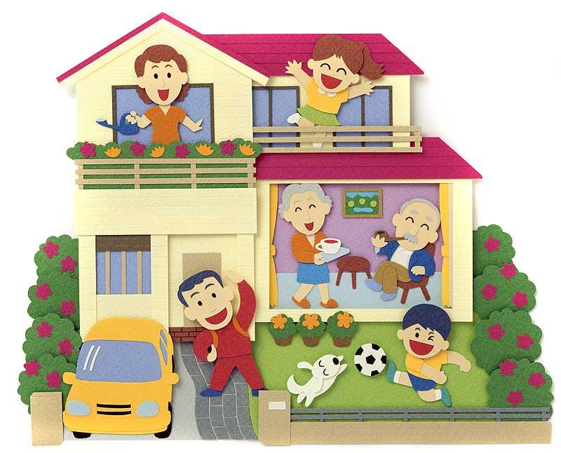 斉藤秀介 憧れの庭付きマイホームで夢の暮らし実現イラスト 子ども・家族・ファミリーイラスト