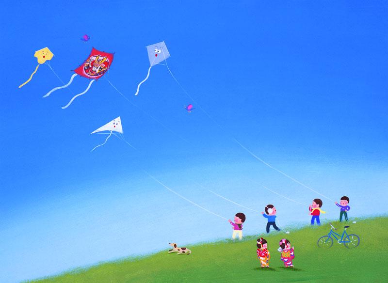 子供イラスト 子供達と凧上げ