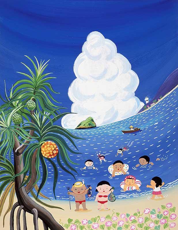 作田忠一 夏休みは浜辺で海水浴の子供たちイラスト