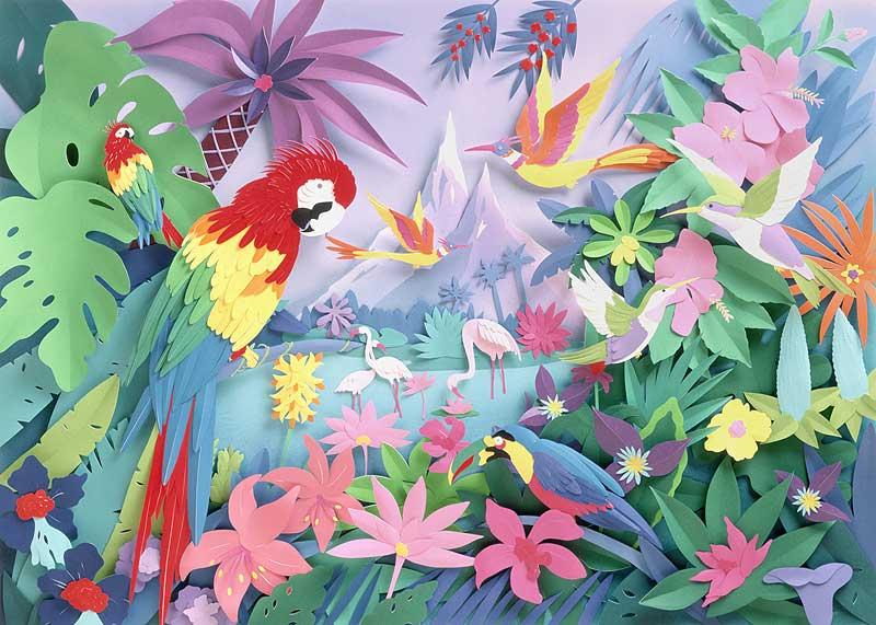 動物 植物イラスト オウムと鳥と花と植物のある風景