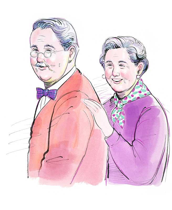 老夫婦の老後の人生イラスト おしゃれで元気なおじいさんおばあさん