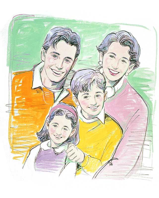 勢克史 家族写真風の笑顔がまぶしいファミリーイラスト 子ども・家族・ファミリーイラスト