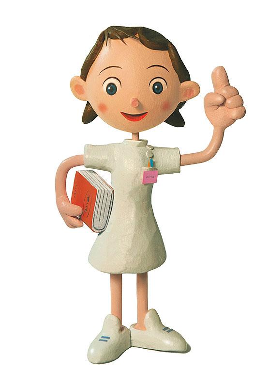 看護師イラスト 人差し指を上に上げて説明する女性看護師