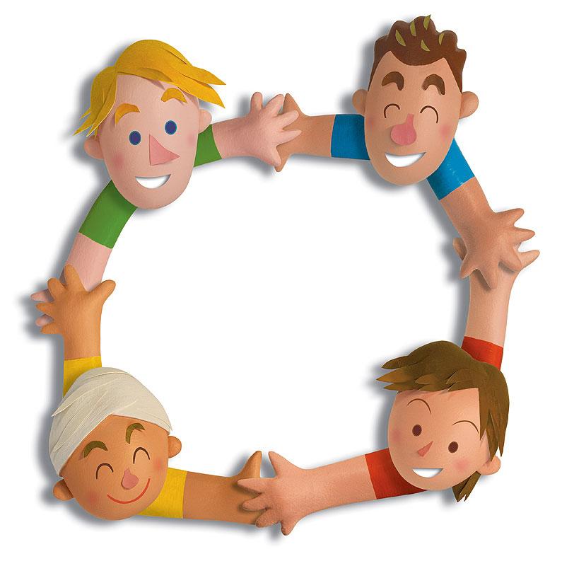 人物イラスト 立体・手をつなぎ輪になった人々   人物イラスト 立体・手をつなぎ輪になった人々