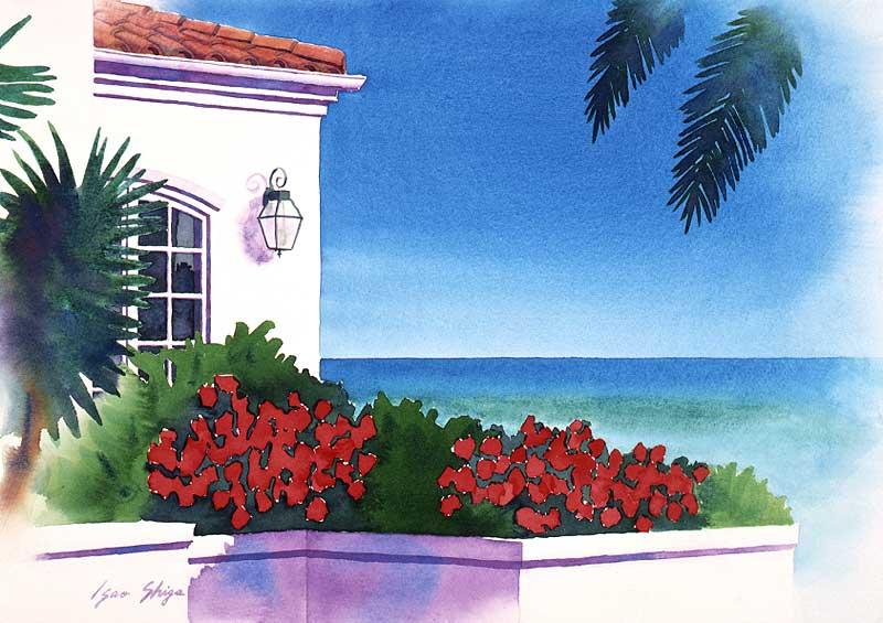 風景イラスト 赤い花の咲く家と...