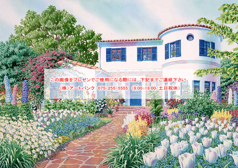 風景イラスト 色とりどりの花が咲く庭と家
