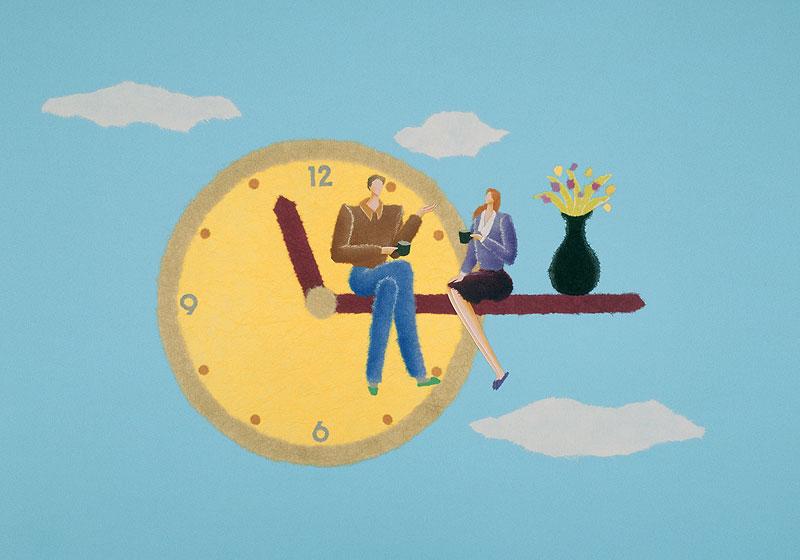S・なかむらさんの空に浮かぶ時計の針の上に座るパートナーとの幸せな時間イラスト 家族・ファミリー・カップルイラスト