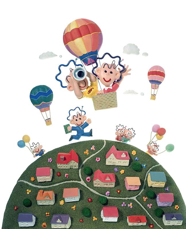 須藤敏明 気球に乗って眺める町並みと人々の暮らしイラスト