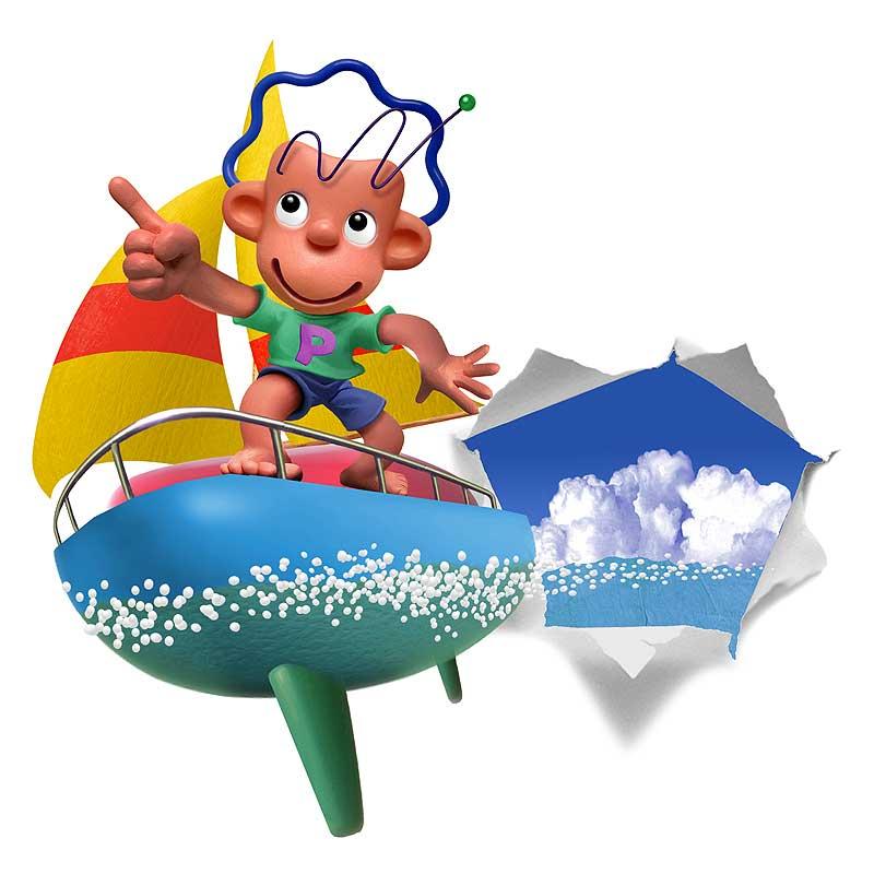 須藤敏明 ヨットに乗って海を飛び出す少年イラスト