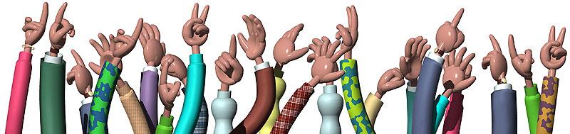 上を指差しVサインで目標を目指す人々の手 上を指差しVサインで目標を目指す人々の手
