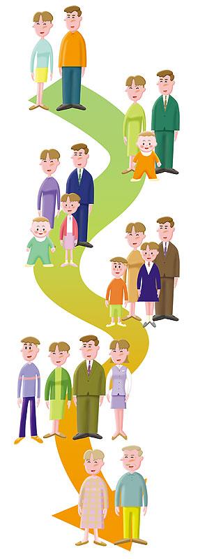 夫婦の人生設計イラスト 子供の成長と家族の将来設計