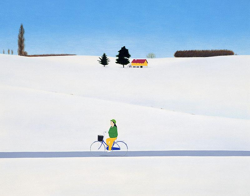 高木さんご 雪景色の中を自転車で走る女性の風景イラスト