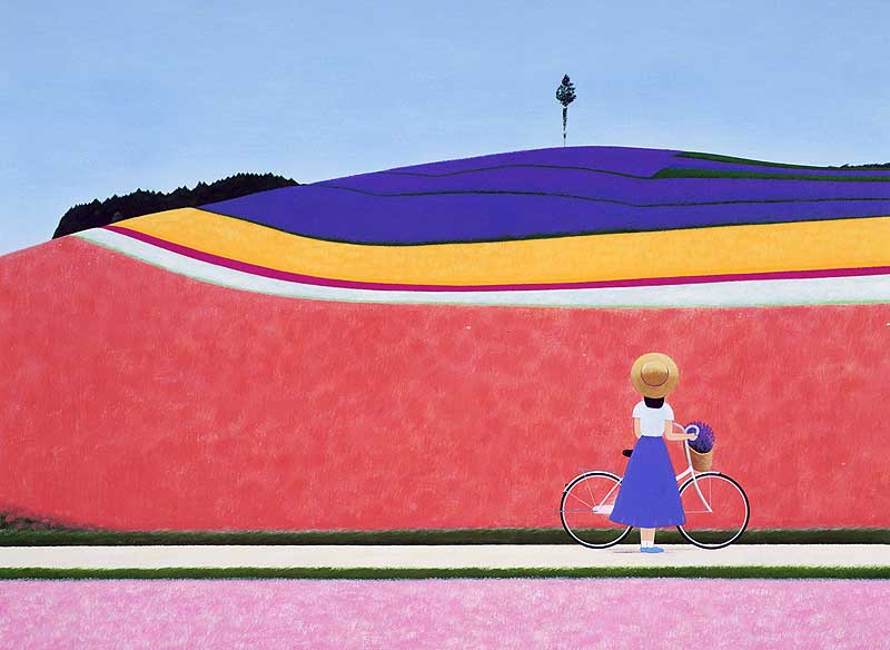 高木さんごさんの花畑の丘の風景を見つめる自転車の少女イラスト