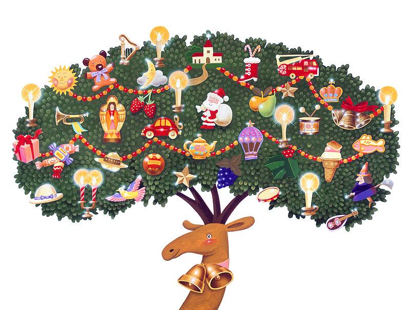 高橋いらすとるうむ クリスマス素材 サンタイラスト・トナカイのクリスマスツリー