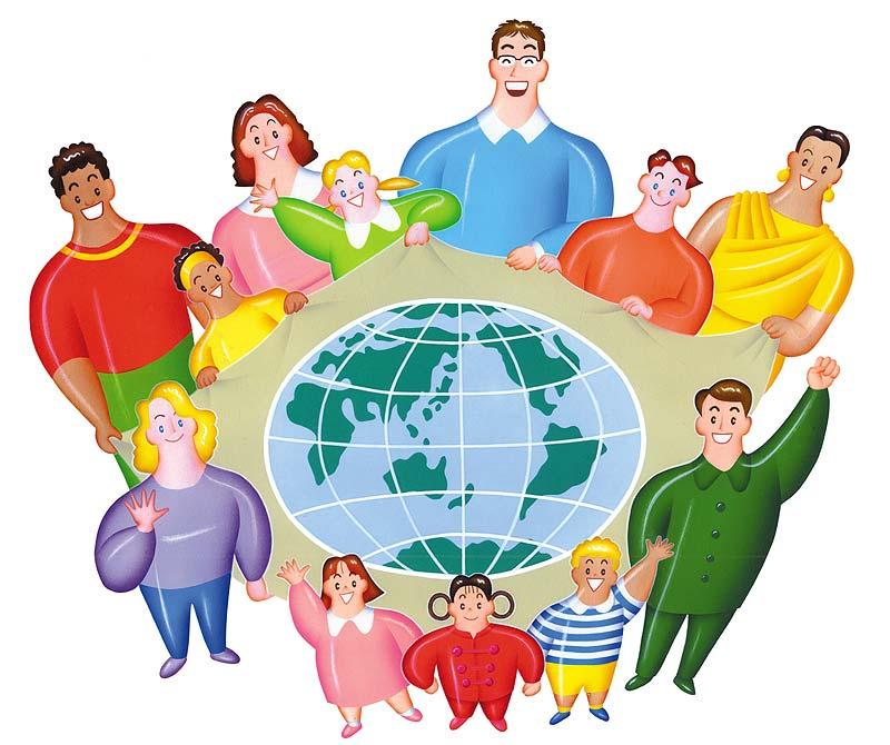 高橋いらすとるうむ 国際交流イラスト 世界地図を囲んで世界の人々の交流、平和を願う