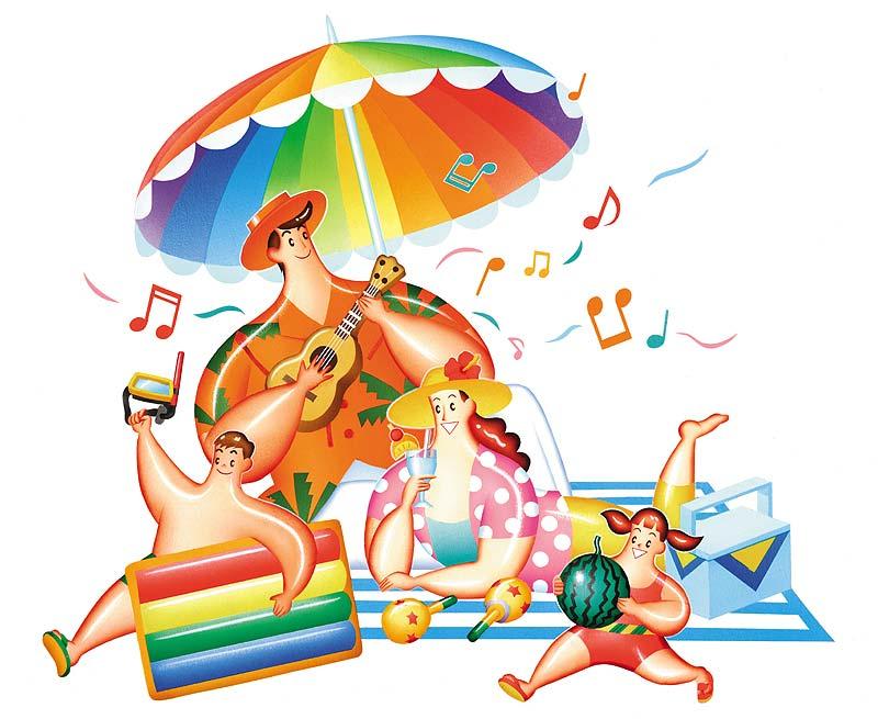 高橋いらすとるうむ 夏休みバカンス!夏のビーチでバカンスを楽しむ家族旅行イラスト