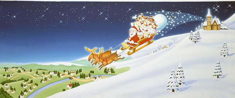 高橋いらすとるうむ クリスマス素材 サンタイラスト・夜空を行くトナカイとサンタクロースの橇