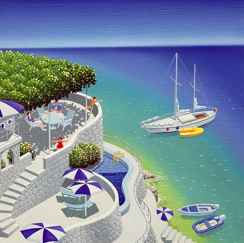 風景イラスト 夏海辺の避暑地でくつろぐ家族沖には白い船