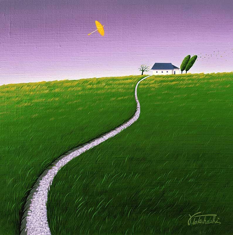 風景イラスト 緑の丘に白い一本の道と空飛ぶ黄色の傘の絵   風景イラスト 緑の丘に白い一本の道と