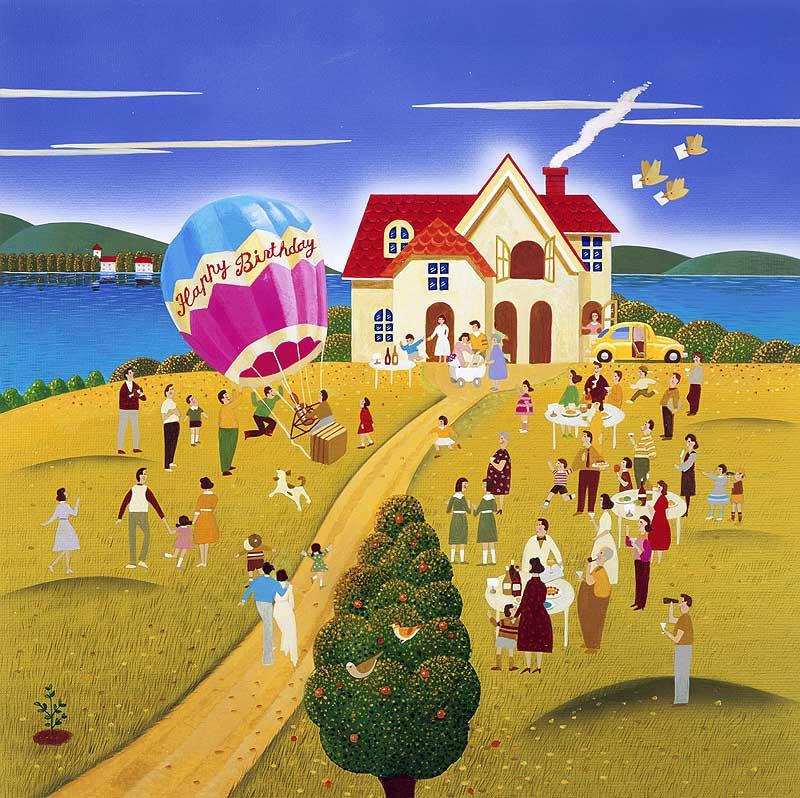 高橋いらすとるうむ HAPPY BIRTHDAY!家の前の広い庭でお誕生日のガーデンパーティイラスト