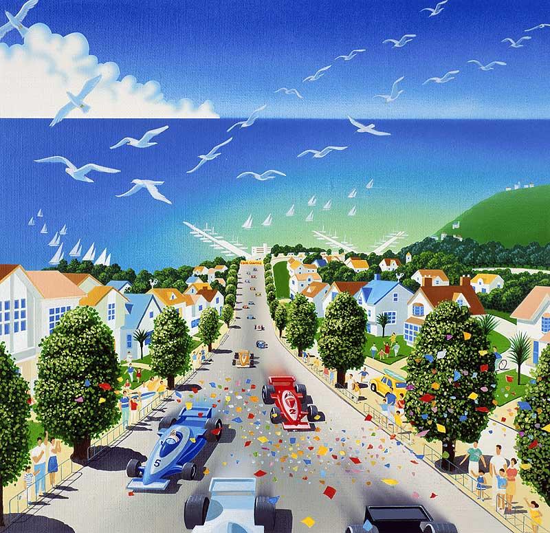 高橋いらすとるうむ 海辺の市街地を走るF1イメージイラスト