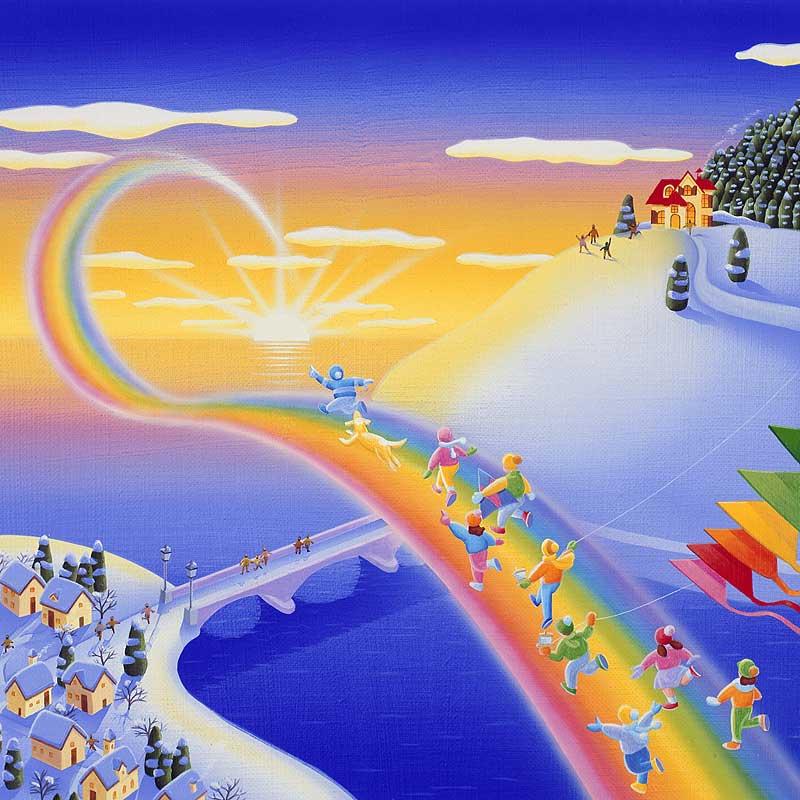 風景イラスト 朝日の中虹を ... : イラストイラスト カレンダー : イラスト