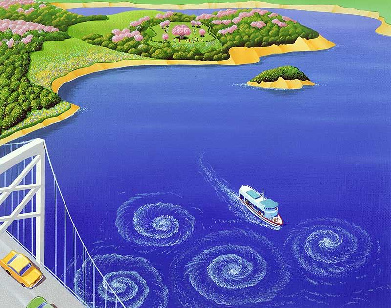 風景イラスト 鳴門大橋と鳴門の渦潮観光船と春の海の絵   風景イラスト 鳴門大橋と鳴門の渦潮観光