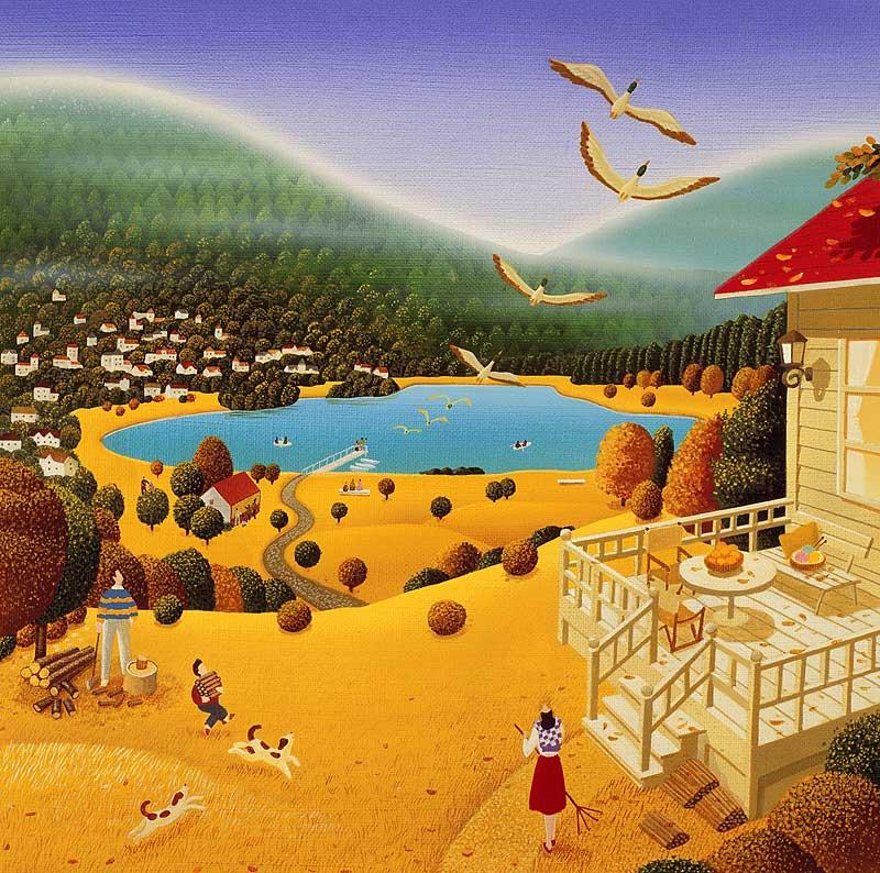高橋いらすとるうむ 渡り鳥が飛ぶ秋の湖畔風景イラスト