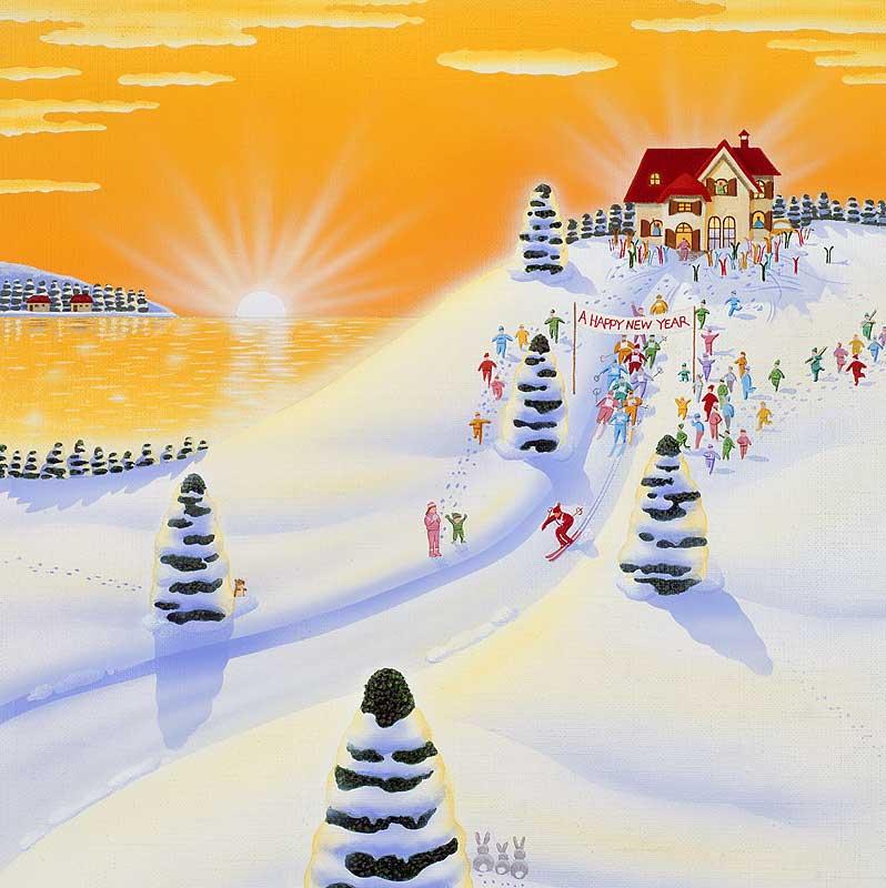 高橋いらすとるうむ 冬の朝日とスキー場イラスト