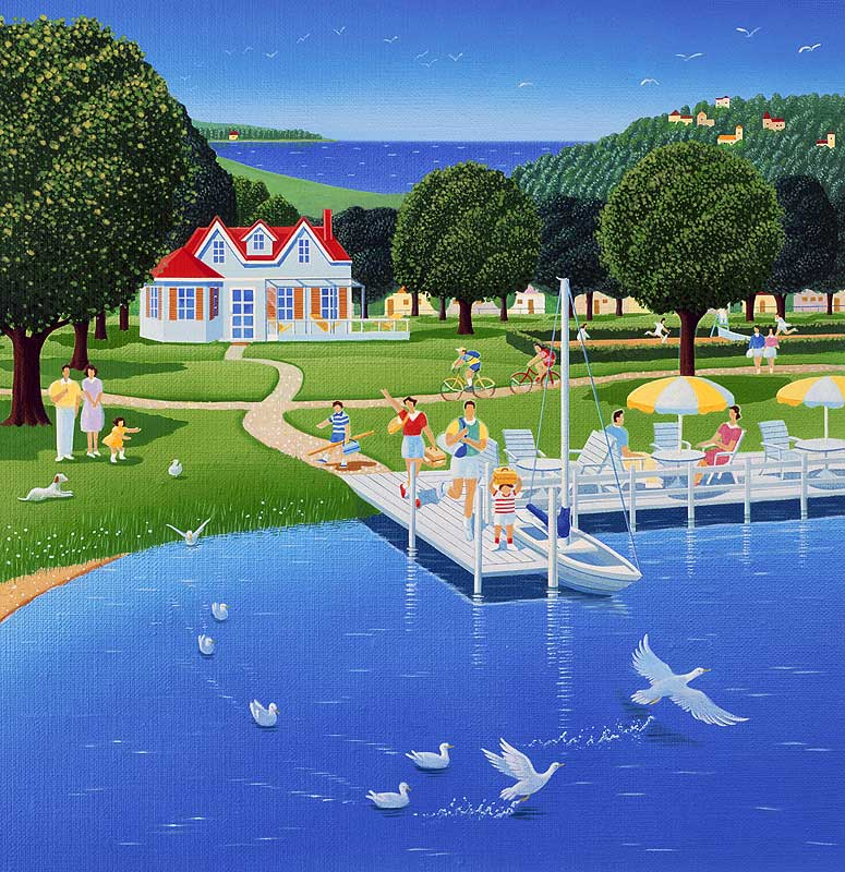 高橋いらすとるうむ 夏の水辺の水鳥とバカンス風景イラスト