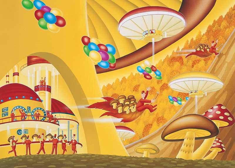 イラスト 9月のカレンダーイラスト : 風景イラスト 秋木の子の城で ...