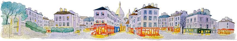 風景水彩画 フランス(パリ)のイメージ