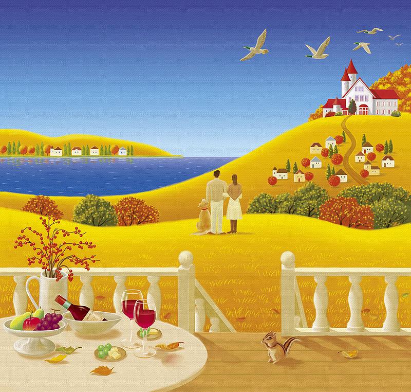 紅葉イラスト 秋の風景を眺めるカップルとワイン