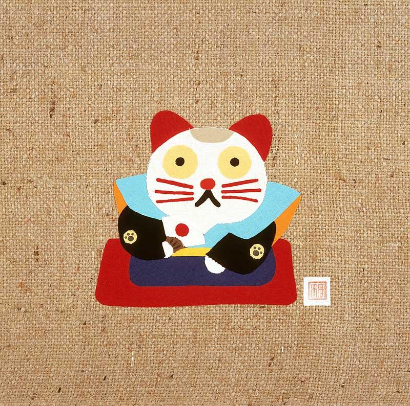たかいよしかずさん 扇子を持つ福助風招き猫キャラクターイラスト