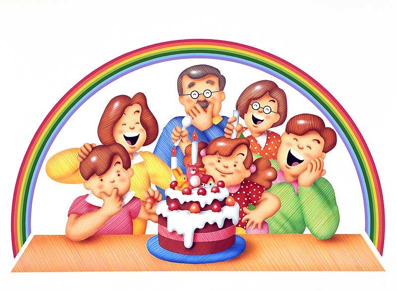 誕生日イラスト かわいいバースデーケーキを囲む家族