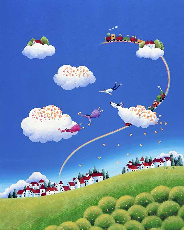 田守あき洋 青空と白い雲の空飛ぶ風景イラスト