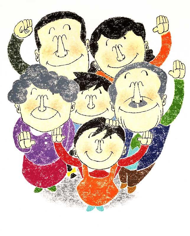 田中かずや 家族みんなで笑顔の挨拶納得イラスト 家族・ファミリーイラスト