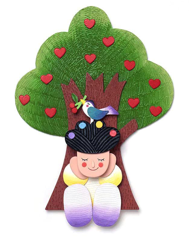 竜田裕実 ハートの実がなる木の下で自然の声に耳を傾ける子供イラスト