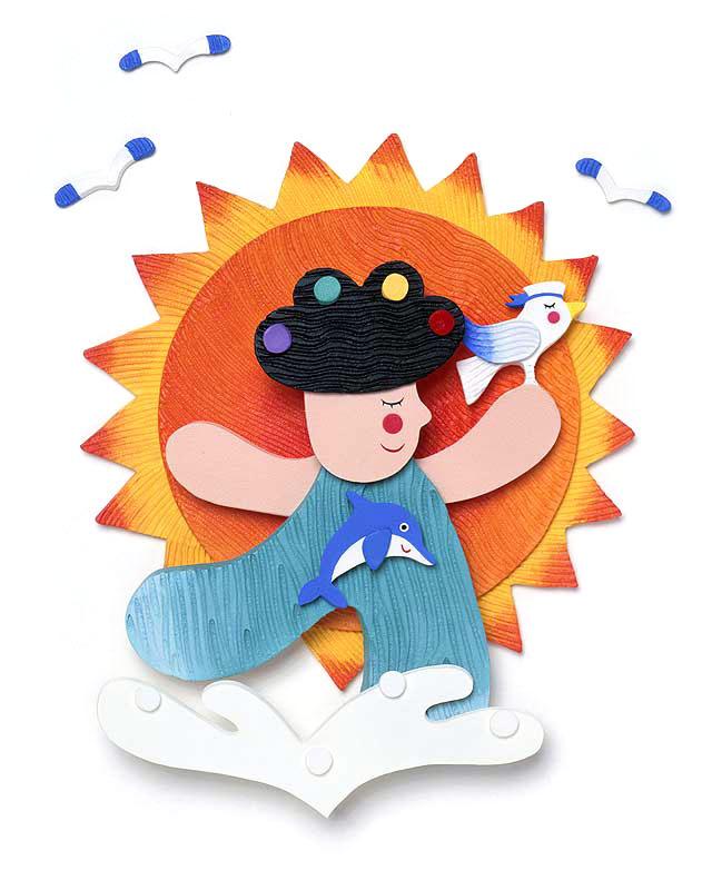 竜田裕実 夏を感じる太陽と海とイルカとカモメと子供イラスト