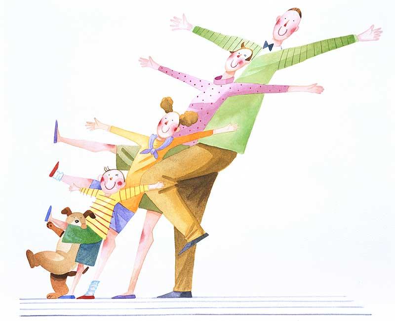 田崎トシ子 一列に並んで手足を上げてポーズを取る家族ファミリーイラスト