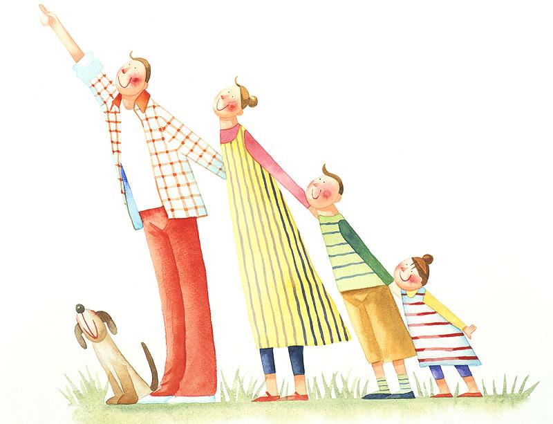 田崎トシ子 未来を指差し一点を見つめる家族イラスト
