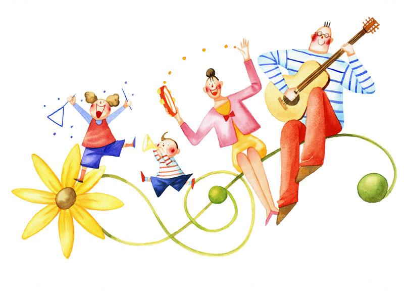 田崎トシ子 花のト音記号に乗って楽器を演奏する家族イラスト