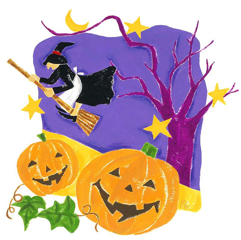 ハッピーハロウィンイラスト かわいいかぼちゃと魔女