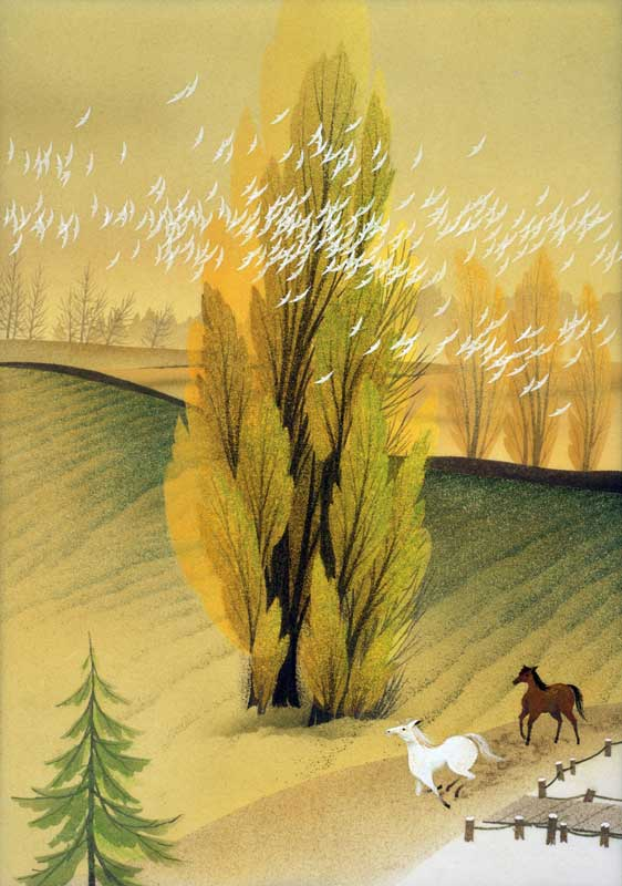 風景イラスト 11月~ポプラ並木道を走る馬・北海道大学   風景イラスト 11月~ポプラ並木道を