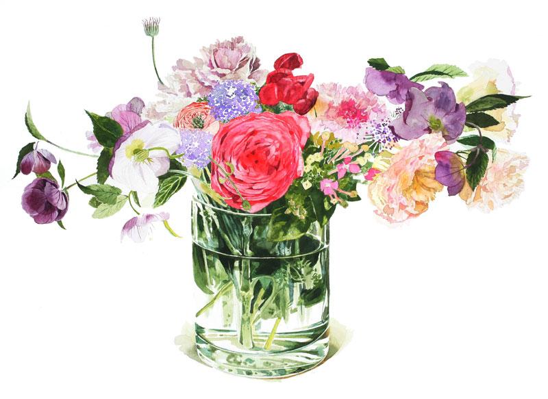植物・花イラスト ガラス花瓶に入ったバラ、クリスマスローズ