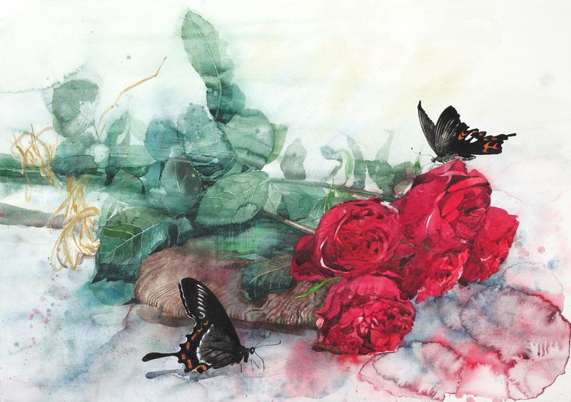 植物・花イラスト 巨大な赤い薔...