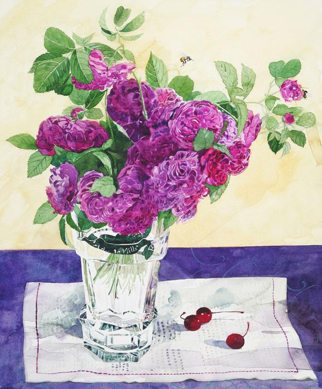 植物・花イラスト バカラ花瓶に薔薇とさくらんぼ、蜂